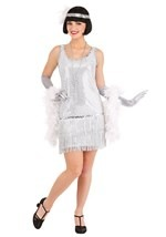 Plus Size Silver Sequin Flapper Dress