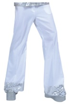Mens White Sequin Cuff Disco Pants