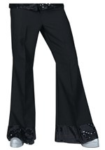 Mens Black Sequin Cuff Disco Pants