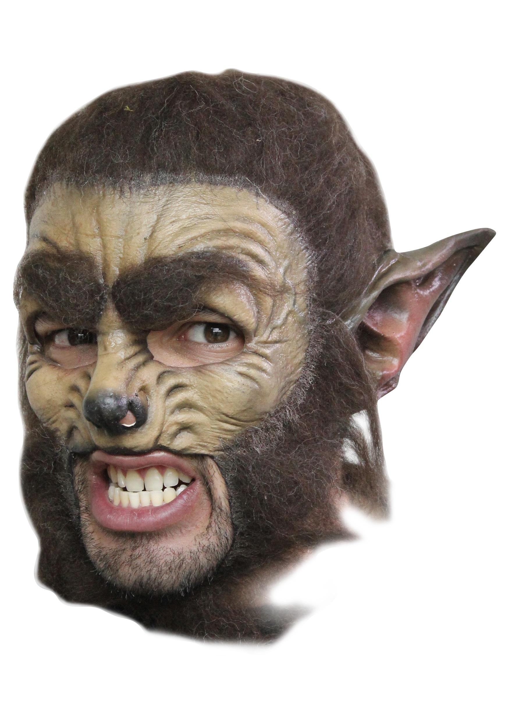 Werewolf Half Face Mask Mens Halloween Werewolf Mask Brown