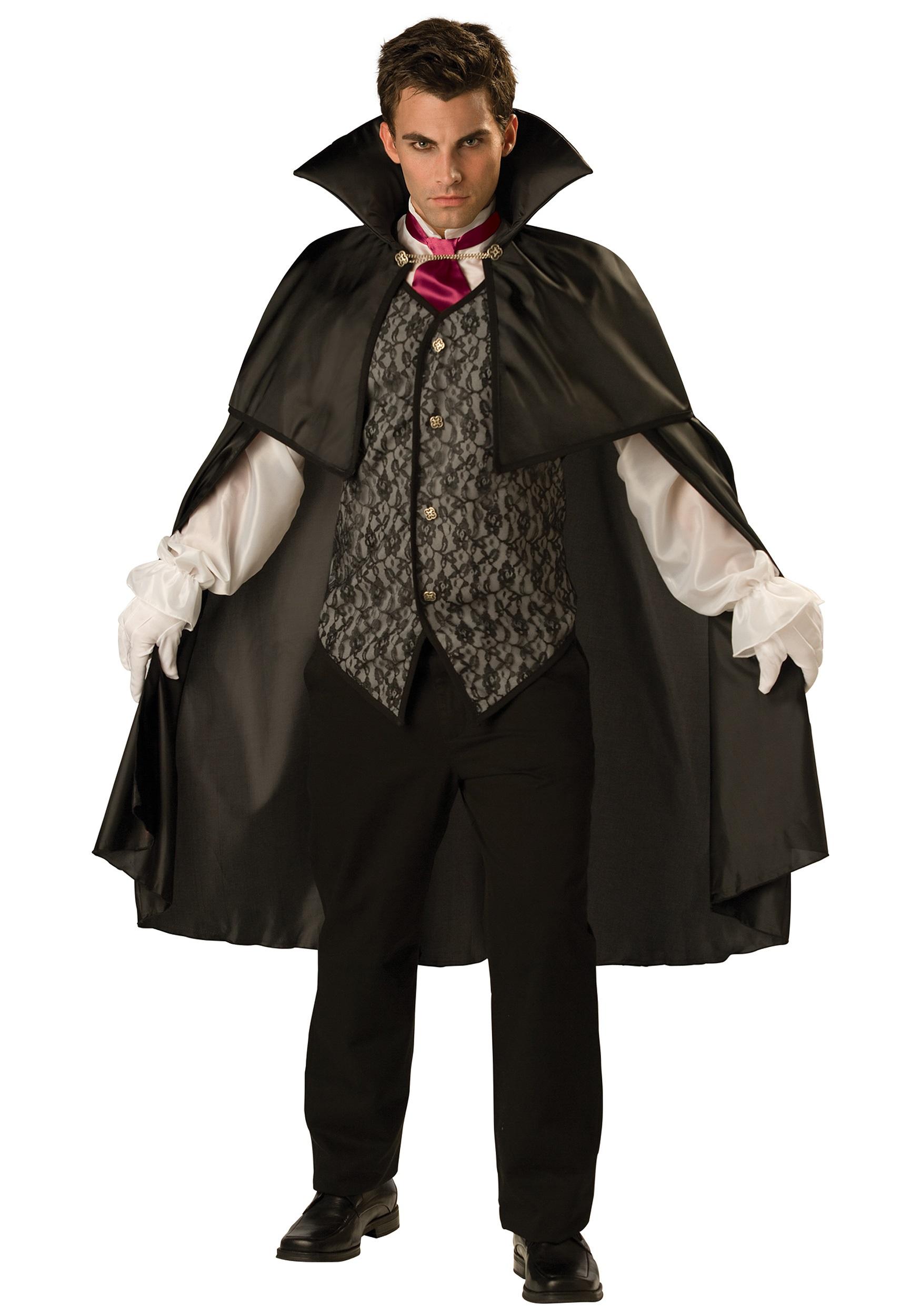 Mens Classic Midnight V& Costume  sc 1 st  Halloween Costume & Mens Classic Midnight Vamp Costume - Mens Scary Costume Ideas