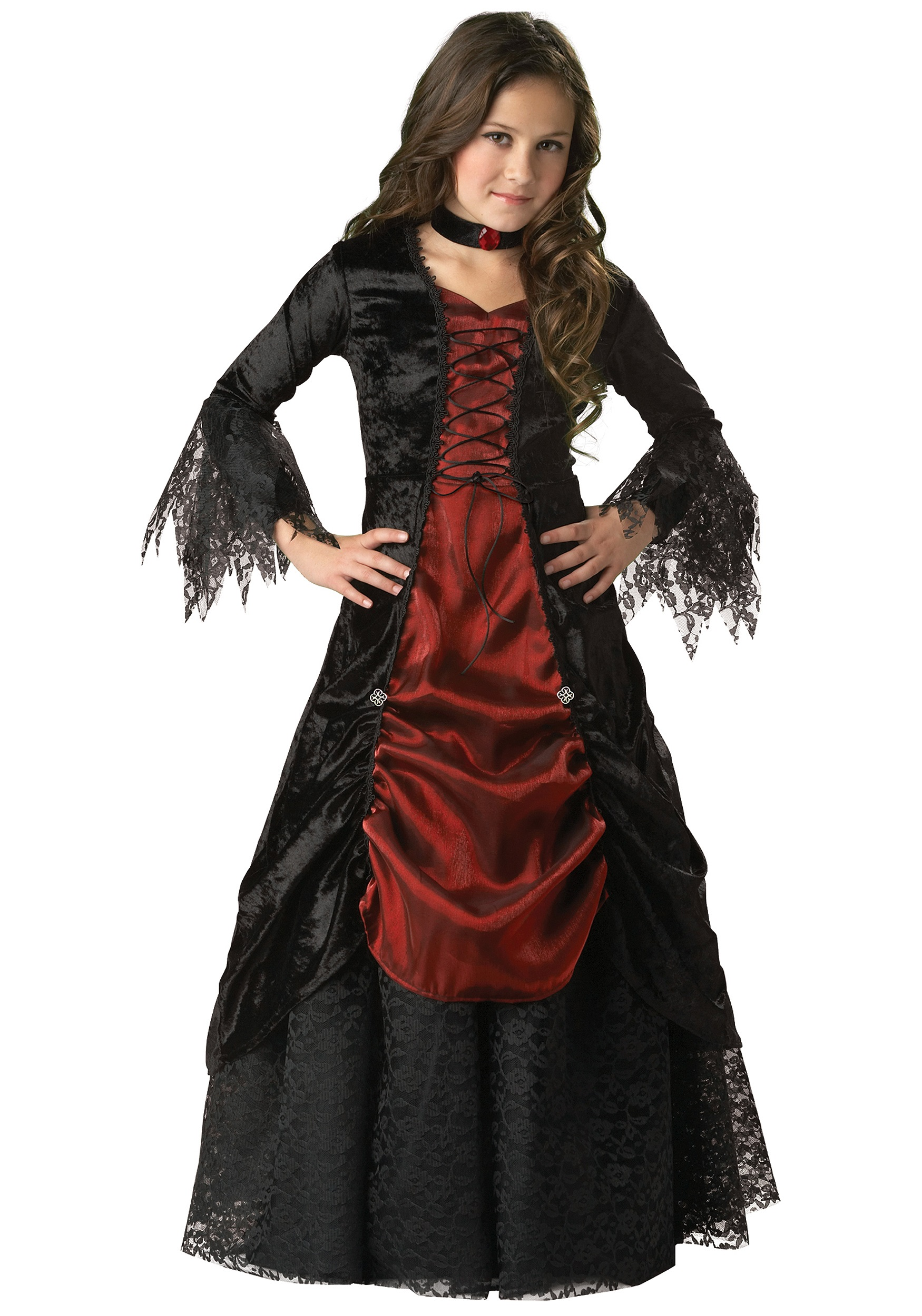 girls goth vampire costume girls traditional vampira. Black Bedroom Furniture Sets. Home Design Ideas