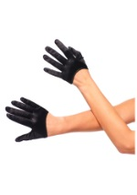 Cropped Black Satin Gloves