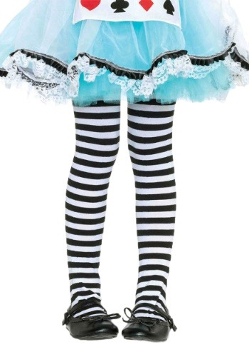 Kids Black & White Striped Stockings
