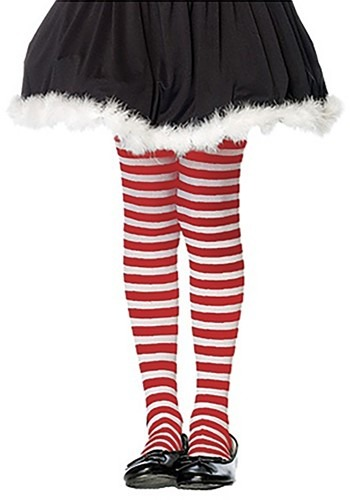 Red White Striped Child Tights