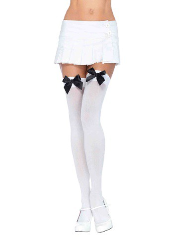 White Tights with Black Bows