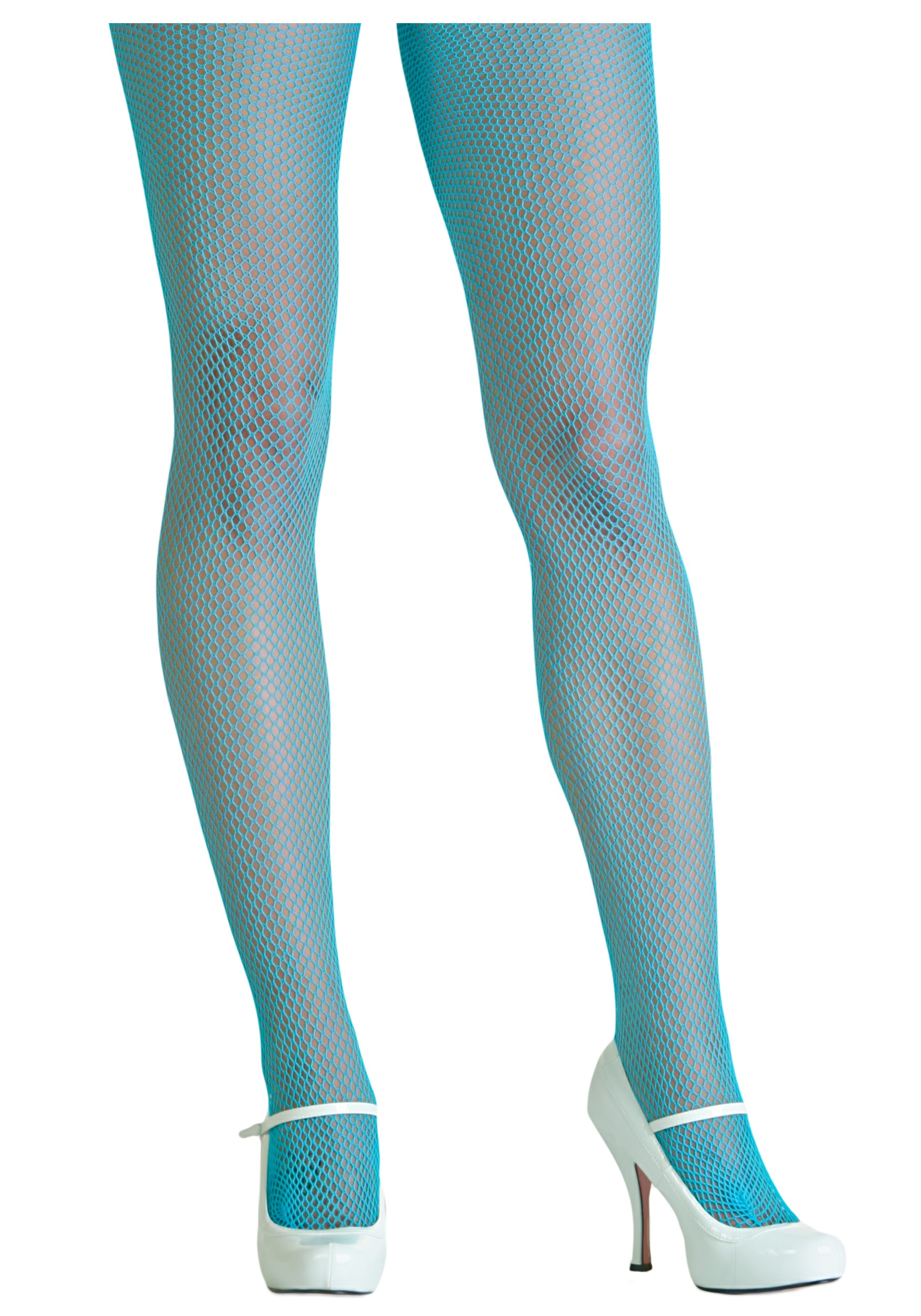Blue fishnet pantyhose