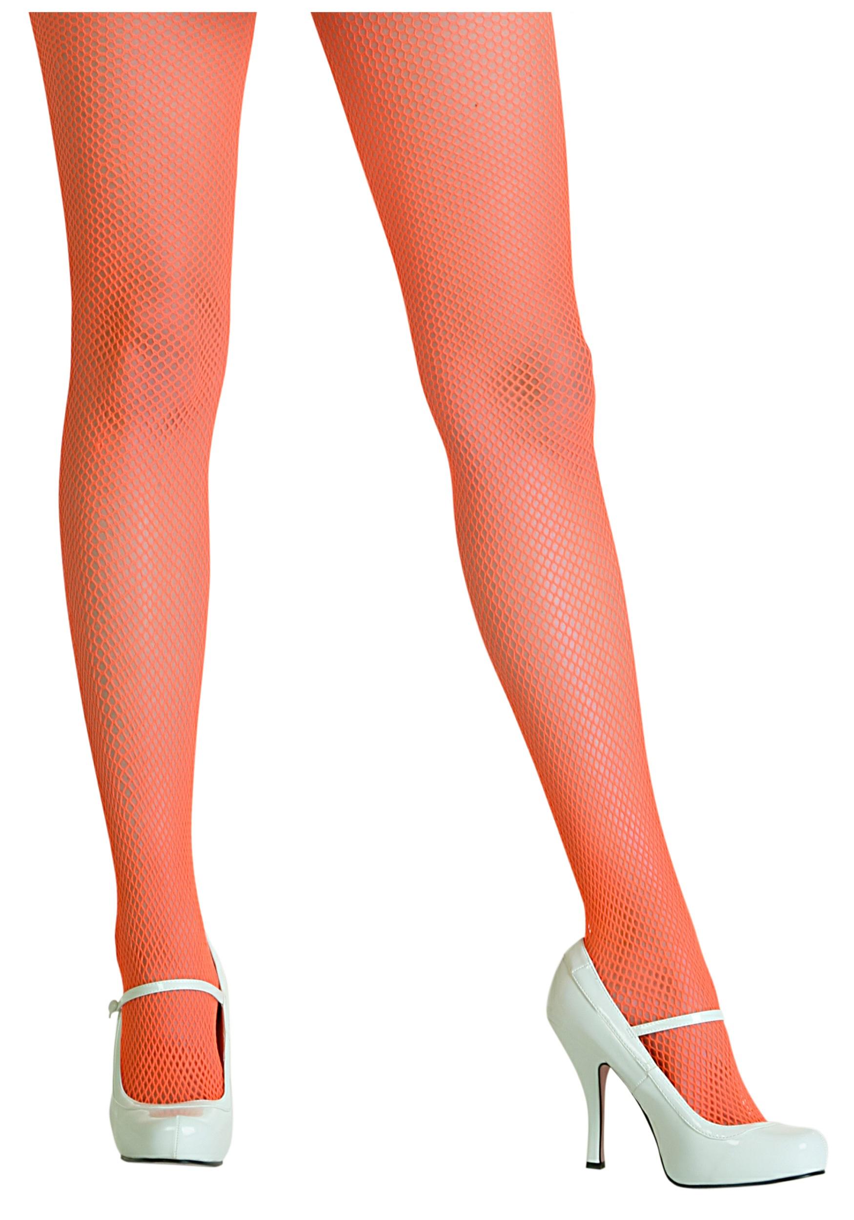 f54f536780cb6 80s Orange Fishnet Tights - Monster Costume Accessories