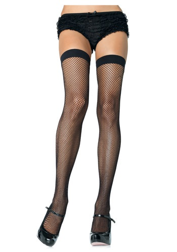 Black Nylon Fishnet Thigh Highs