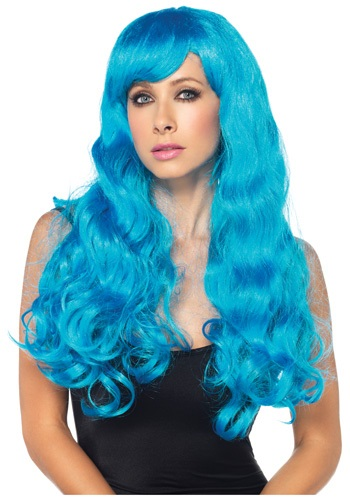 Long Flowing Blue Wig