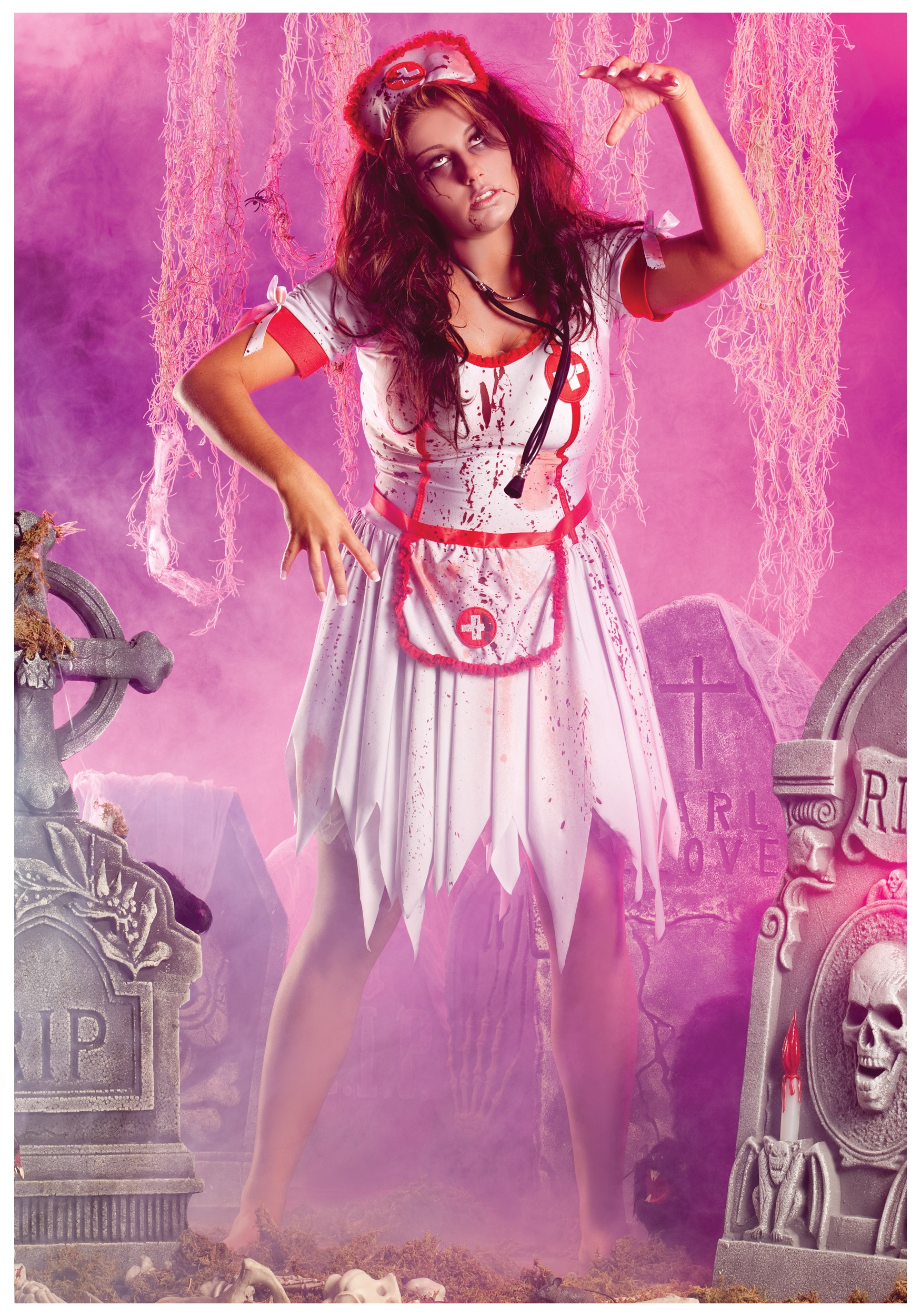 Plus Size Undead Nurse Costume - Scary Zombie Occupation Costumes