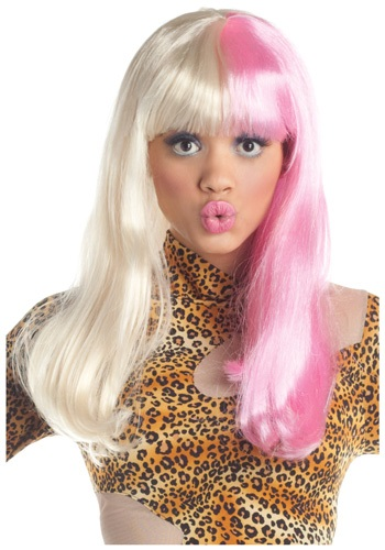 Pink and White Rap Star Wig
