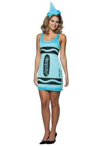 Womens Sky Blue Crayon Dress