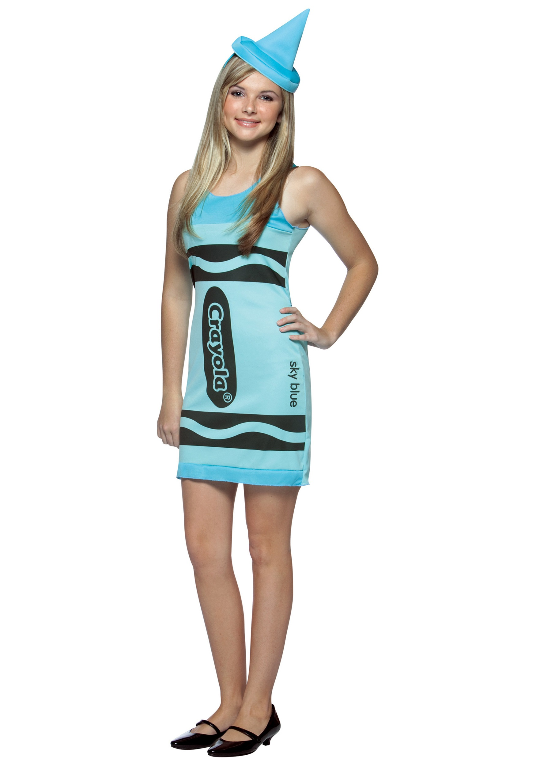 sky blue teen crayon dress - Girls Teen Halloween Costumes