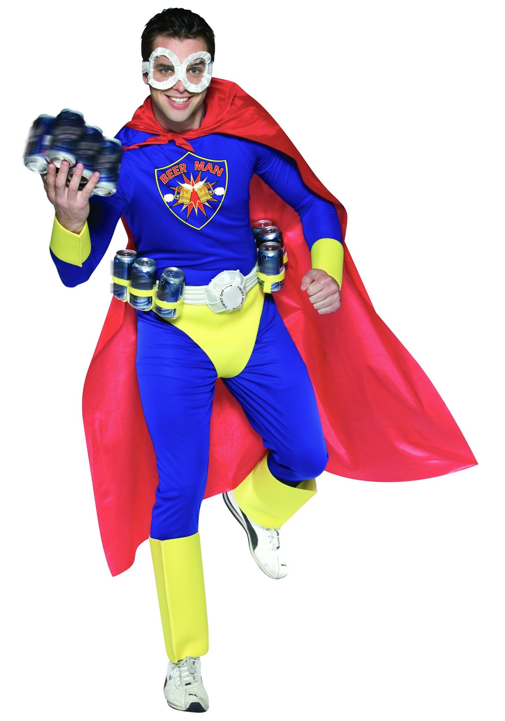 Beer Man Superhero Costume  Adult Funny Halloween Costumes - Super Funny Halloween Costumes