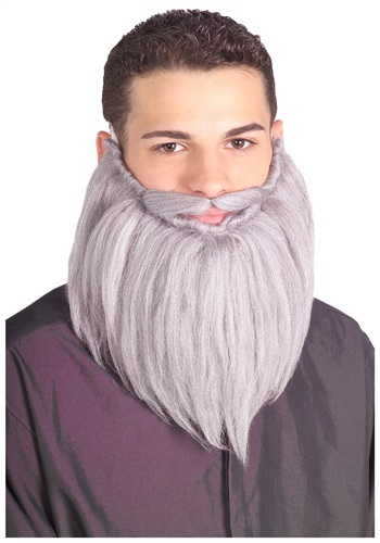 Grey Storybook Wizard Beard and Mustache