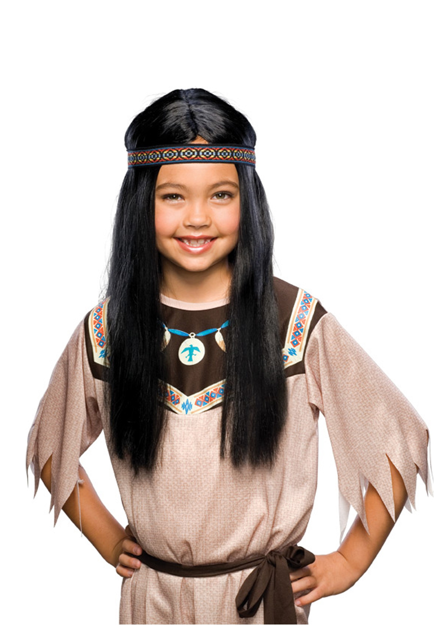 Childs Pocahontas Wig  sc 1 st  Halloween Costume & Childs Pocahontas Wig - Kids Native American Indian Costume Wigs