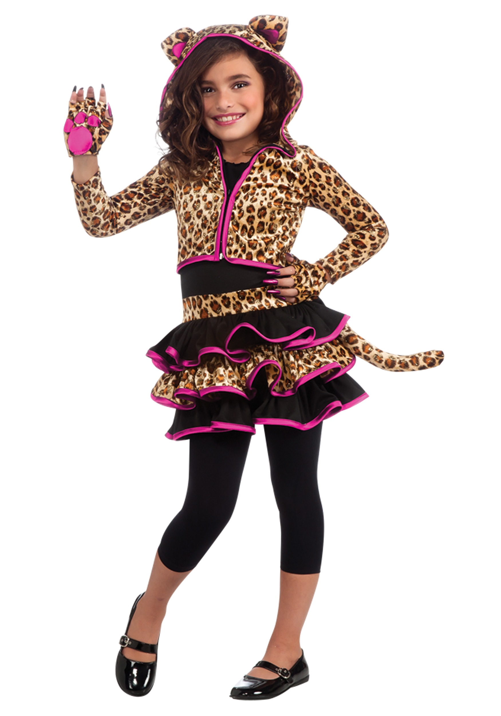 Girls Fierce Leopard Hoodie Costume - Animals Costumes, Kids Costumes