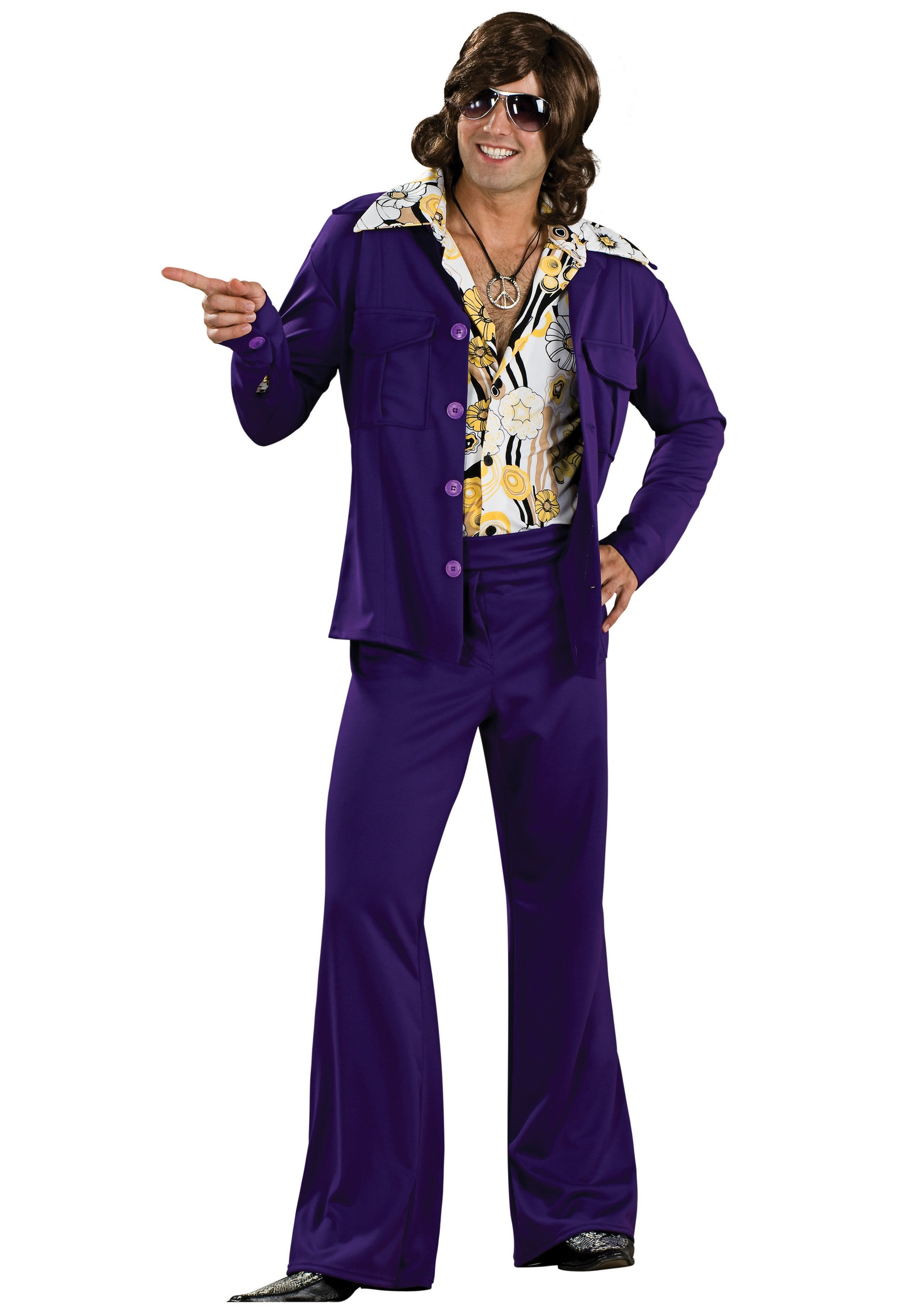 70s style purple leisure suit mens 70s hippie halloween