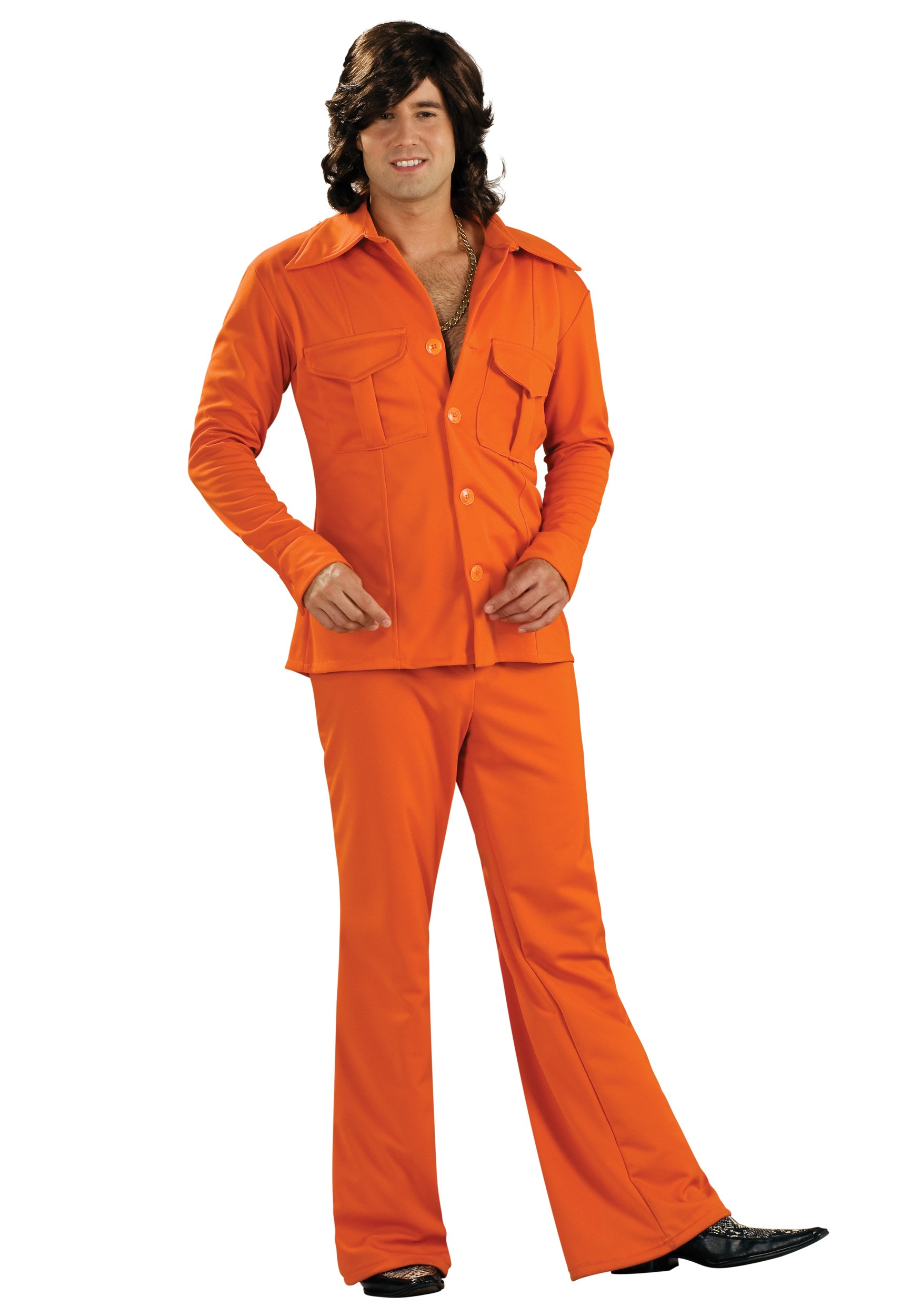 70s Style Orange Leisure Suit  Mens 70s Suits and Disco Costumes